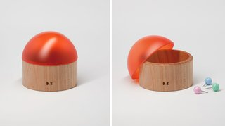 Office Wares by Daniel Emma - Photo 5 of 5 - Small Pot, 2011, $130—Hide away all bits and bobs wth these discrete, easy timber and acrylic orange dome-topped pots.