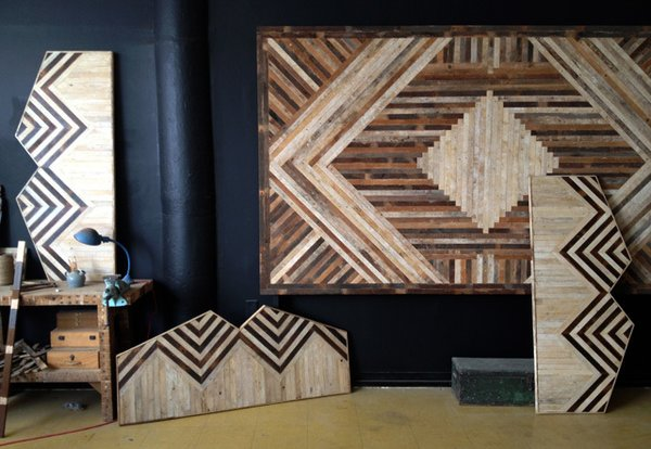 A medley of Ariele Alasko's headboard and wall panel designs displayed in her Bedstuy studio. Photo credit: Ariele Aslasko