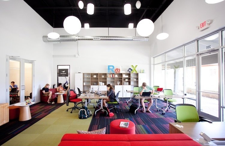 Link (Austin, United States)  Coworking guru Liz Elam, who founded Link as well as the League of Extraordinary Coworking Spaces, designed this collaboration hub with focus and results in mind. While the shared area of the office (pictured above) exudes color and energy, and is rearranged every week to inject a bit of randomness, other workspaces remain subdued. Desks are perpendicular to the windows to reduce glare, walls are kept white, and Elam made sure different work styles were respected. Half the space features low ceilings and white noise for introverts, while a louder, more open section is tailored to extroverts.  Photo 4 of 13 in 13 Inspiring Coworking Spaces