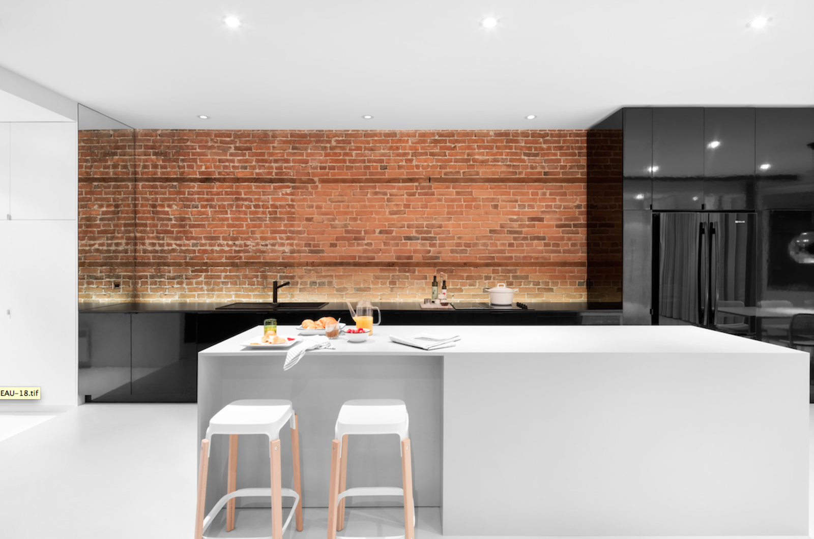 Minimal kitchens collection of 5 photos by allie weiss dwell for Kitchen units made of bricks