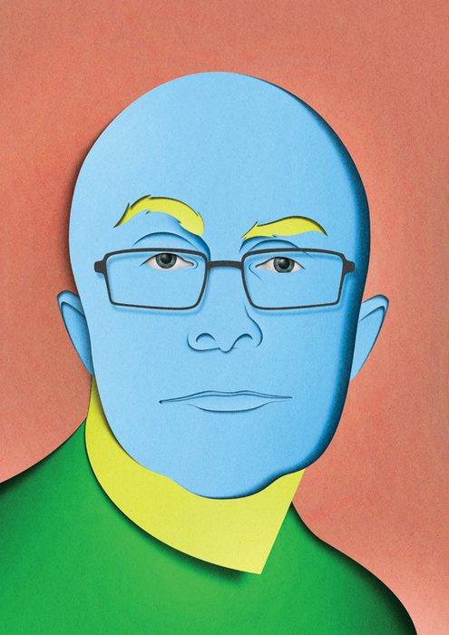 A green sweater wearing, blue-headed fellow.  Graphic Designer We Love: Eiko Ojala by Eujin Rhee