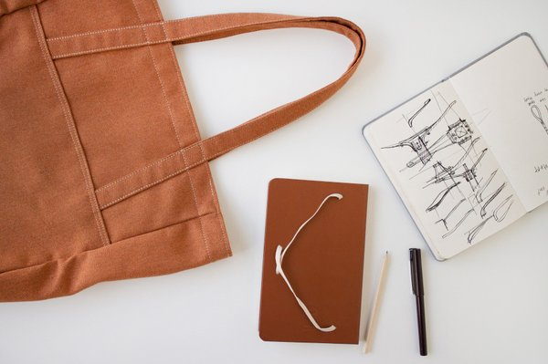 A terra cotta version jives beautifully with the Heather A-Strap Tote.