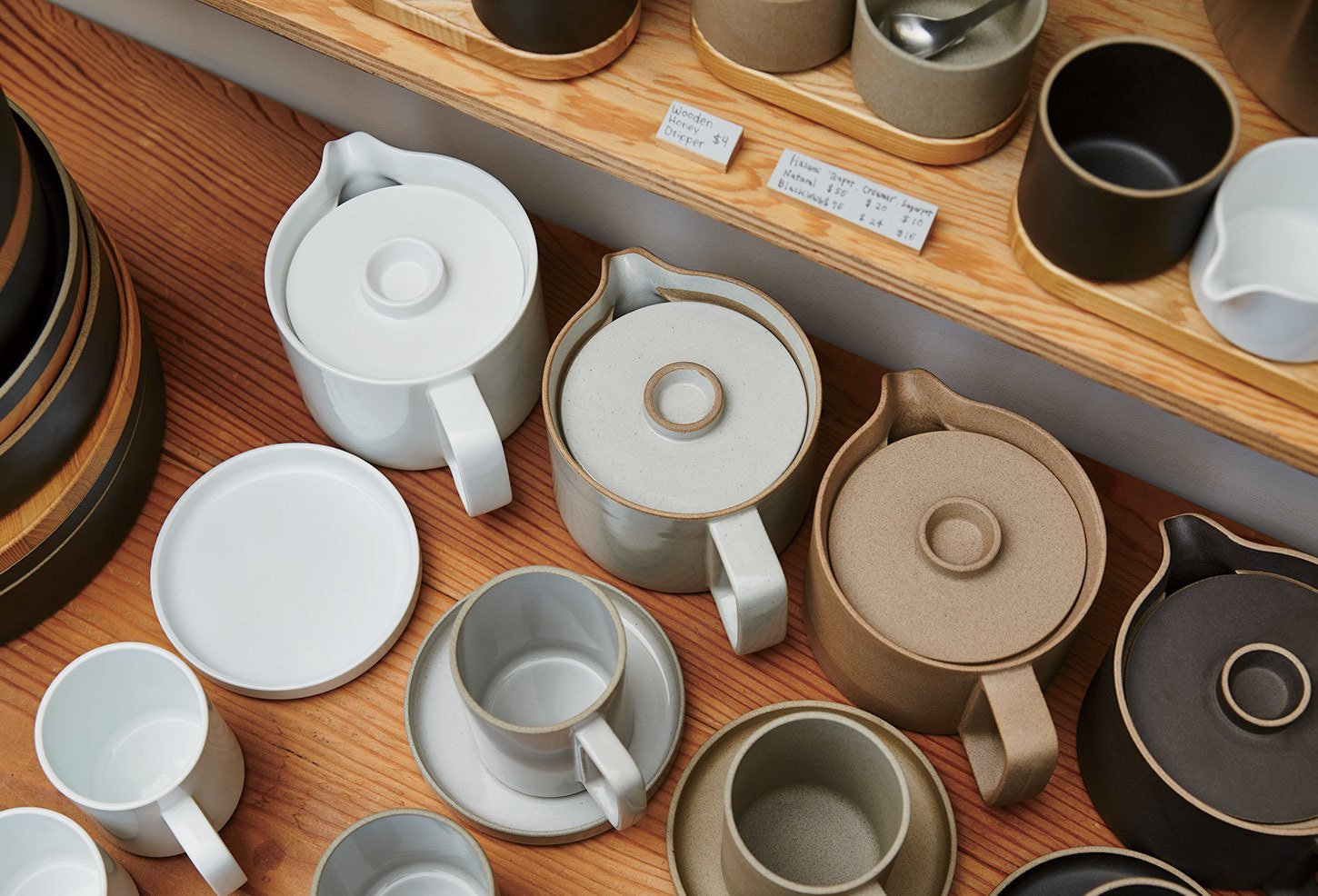Taku Shinomoto designed the Hasami porcelain pieces, which are stackable and based on oju, or traditional Japanese lacquerware.  Photo 5 of 6 in A Cute Mom-and-Pop Shop in L.A. Showcases the Latest Japanese Design
