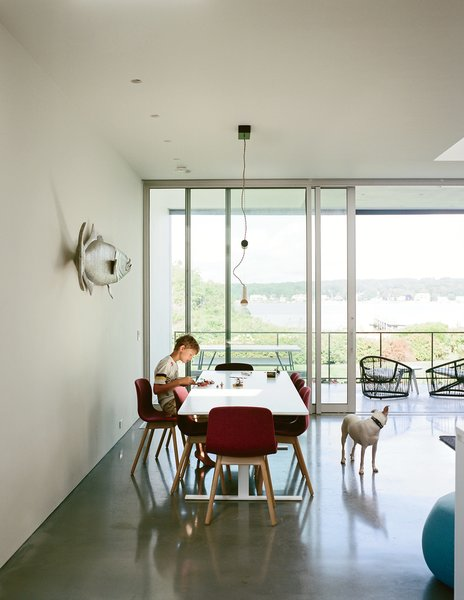 In the home's west-facing wing oriented toward the pond, Christopher, 10, sits in the dining area, furnished with a Luxor table by Cappellini, chairs by HAY, and a Counterweight pendant by Fort Standard. The fish sculpture is by Mark A. Perry, a local folk artist.
