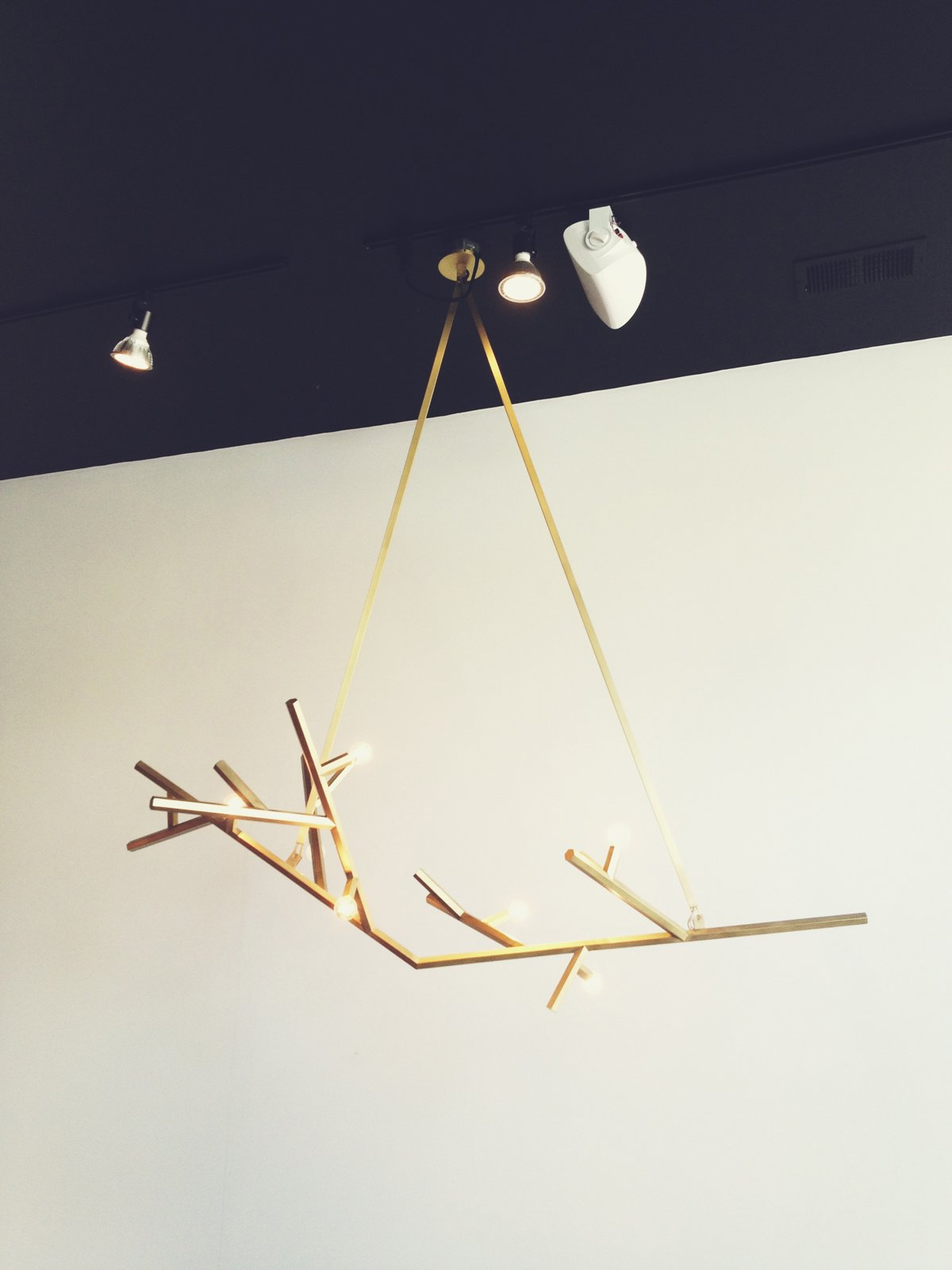 A gold branched fixture by San Francisco-based interior, lighting, and furniture designer Charles de Lisle.