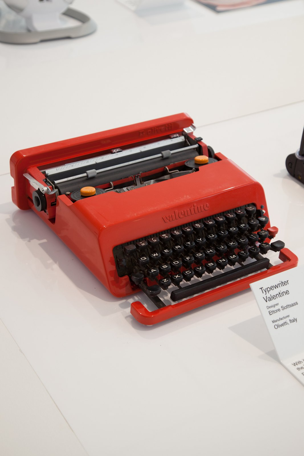 The Typewriter Valentine by Ettore Sottsass for Olivetti was dubbed the Biro of typewriters.  Design Museum London's Extraordinary Stories about Ordinary Things by Rebecca L. Weber