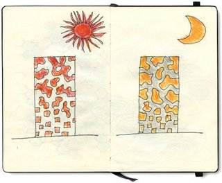 Japanese architect Toyo Ito's day and night sketches.
