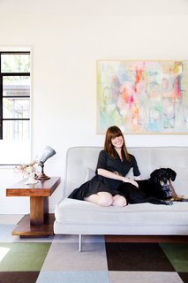 "45 Pets in Beautiful Modern Homes - Photo 23 of 45 - Allison says the living room, which receives loads of natural light, is her favorite space in the house. ""I love sitting on the sofa and looking out the window,"" she says. ""It is a really special room and we hang out in there 90 percent of the time."""