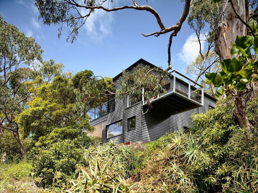 "Large gum trees offer a natural barrier for the house. Harkness designed the house's footprint in order to minimize the effect on tree roots. ""The retained trees offer a sense of layering and age that new vegetation won't be able to for a long time,"" Harkness says. Tagged: Exterior, House, and Metal Roof Material.  Photo 2 of 8 in A Breezy Modern Beach House Sits Among the Trees in Australia"