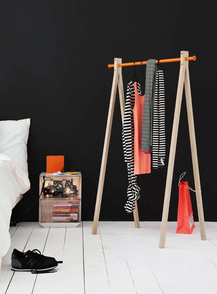 Sturdy but unobtrusive garment racks are a clever option for apartments with little closet space. Nomess Copenhagen's Dress-Up comes in white or black legs with the option of a black, white, or orange hanging bar at top. (Buy it for €229 here.)  Storage by Dwell from Mod Storage Accessories from Nomess Copenhagen