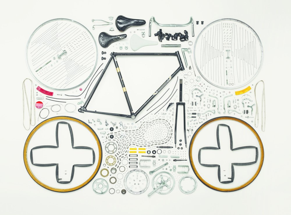 Bicycle, 1980s; Raleigh; Component count: 893Photo credit: ©2013 Todd McLellan. Photo reproduced with the permission of Thames & Hudson.  Bicycle, Bicycle by Aileen Kwun from Things Come Apart by Todd McLellan