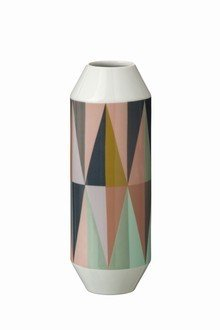 Spear Vase from Ferm Living  A simple harlequin print mixes pale pink and mint with natural wood and charcoal on this porcelain vessel. $55  Pastel Picks for the Kitchen by Olivia Martin