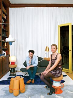 "Jean-Baptiste Souletie and Louise Breguet are the young founders of Parisian manufacturer La Chance. They release ""unlimited"" editions from primarily European designers, like Note Design Studio, whose Tembo and Bolt stools are shown here in their studio space, a flat in the 16th arrondissement. Photo by: Céline Clanet"