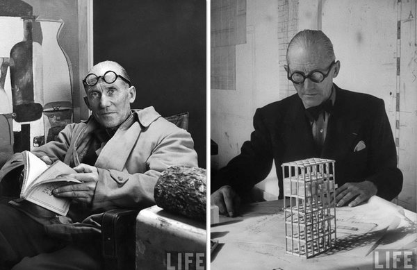It all starts with the specs. Thick, round, black, and as demonstrated here, equally dapper whether worn on the face or forehead.  Photo 1 of 7 in Le Corbusier: The Most Stylish Architect in History