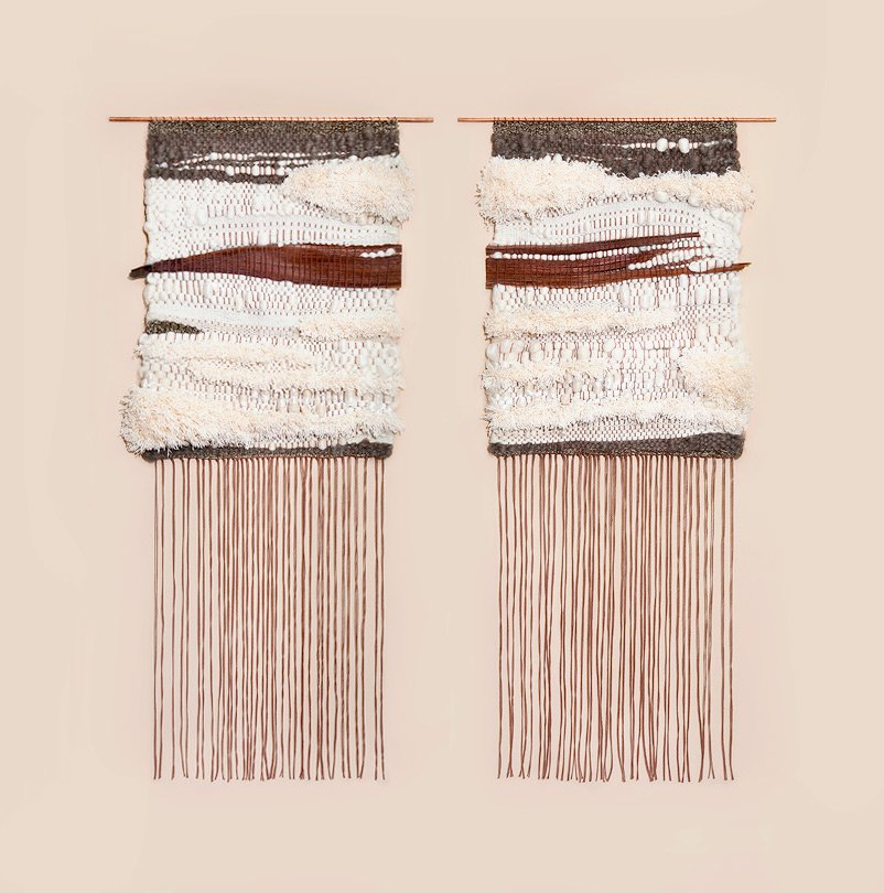 """Besides color, Jung finds inspiration in everyday things—""""from a block of tofu that I translate into a woven piece, to a found piece of tree bark that dictates the entire design/flow of the weavings.""""  Photo 4 of 8 in The Art of Brook&Lyn"""