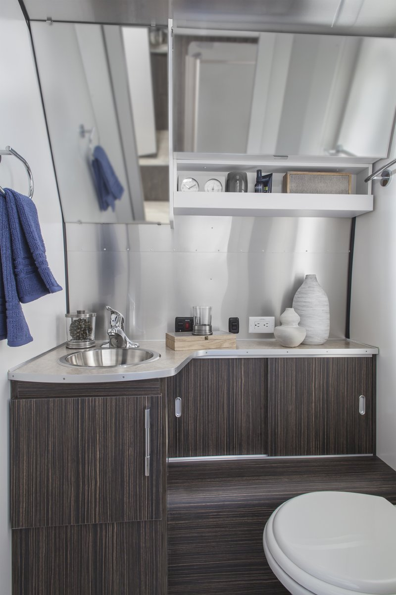 Especially impressive is the seemingly roomy lavatory. See a floorplan of the 28-foot-long Airstream International Signature Series here.