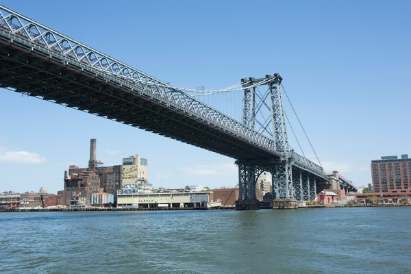 To the left of the Williamsburg Bridge, the Domino Sugar Factory awaits a Rafael Viñoly transformation.