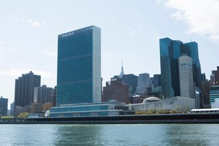 Around Manhattan Architectural Boat Tours by AIA New York - Photo 6 of 13 - The United Nations makes a strong riverside presence. In the foreground, the UN Headquarters built with contributions by Wallace K. Harrison, Le Corbusier, Oscar Niemeyer, and Sven Markelius. Behind and to the right of the campus, the UN Plaza Offices and Hotel by Roche Dinkeloo.