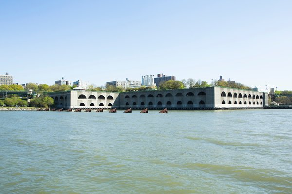 Riverbank State Park by Dattner Architects and Abel Bainnson Butz serves double duty. The sewage treatment plant below is handsomely masked by the state park overhead. It should be noted the construct is a job well-done, as Riverbank State Park is the most-used park in the state.