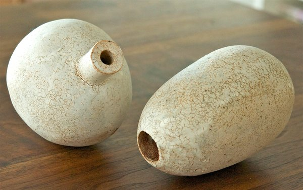 Though she cares a great deal about controlling fine details, Moyer finds the random and often-surprising variations that occur at 1,700–2,200ºF to be thrilling.<br><br>Stoneware duo, available at BDDW in NYC.