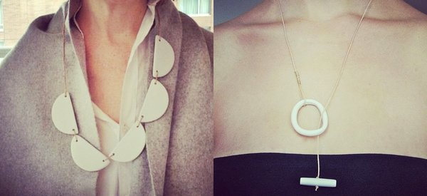 Unglazed porcelain and leather necklaces, available at March in San Francisco and Loomstate.