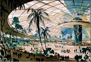 Pereira and Luckman's 1952 design for Los Angeles International Airport (LAX) called for a glass-enclosed central terminal, with a world map etched on the central column. Their original plan died because the city's Building Department found it too radical, the cost of air-conditioning would have been exorbitant and the airlines wanted their own individual terminals. Image courtesy LAX Flight Path Learning Center.