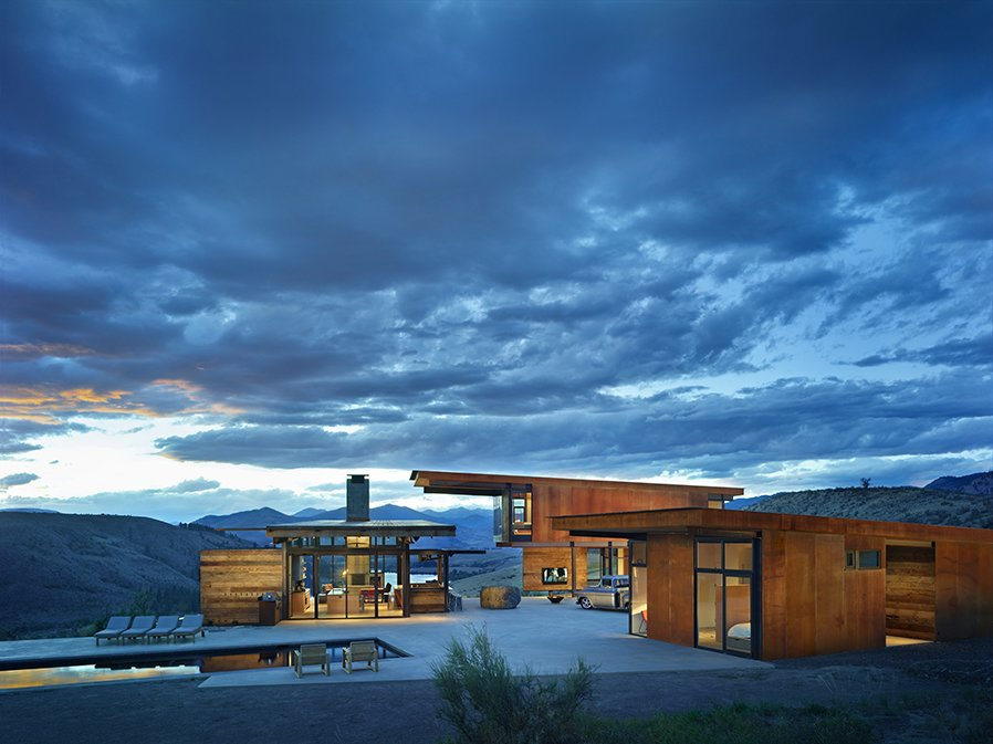 One-Family Custom Housing: Olson Kundig Architects created this home in Washington's remote Methow Valley as four structures oriented around a central courtyard, each positioned to best enjoy the surrounding vistas in all four seasons.