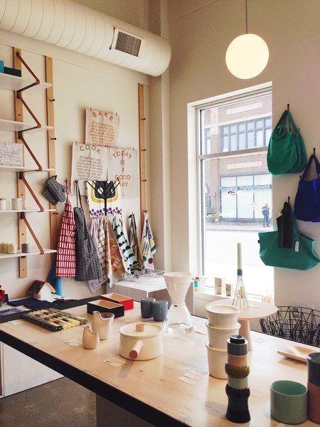 At Detroit's Nora, find a curated selection of modern housewares and accessories from local and international designers including pieces by Ferm Living, Kaico, Soma, and Artek.
