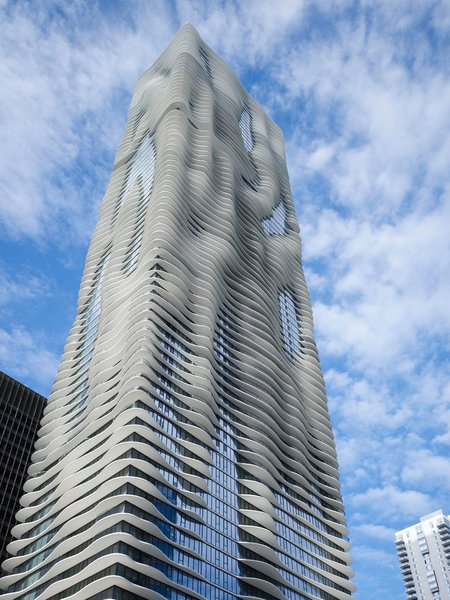 The innovative skyscraper, which is 82 stories tall, features an undulating shape designed to capture views of Chicago landmarks.