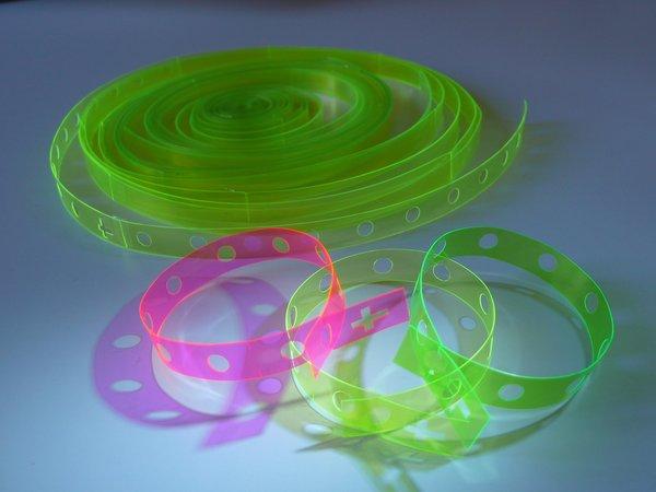 Neon rosary bracelets.