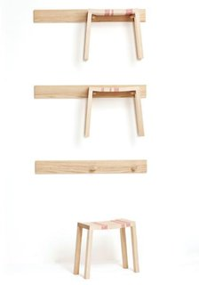 Wall Stools<br><br>Three racks with stools. Ash wood and plastic string. Manufactured by de Place Furniture.