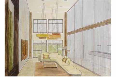 Designer Is In consult Fariba Haiem's sketch for a Venice live-work loft.