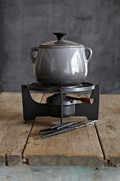 """The company Le Cousances, founded in 1553, was acquired by Le Creuset in 1957. This beautiful grey Le Cousances fondue set is immaculate and precious. It's perfect for a honeymoon in Alaska."""