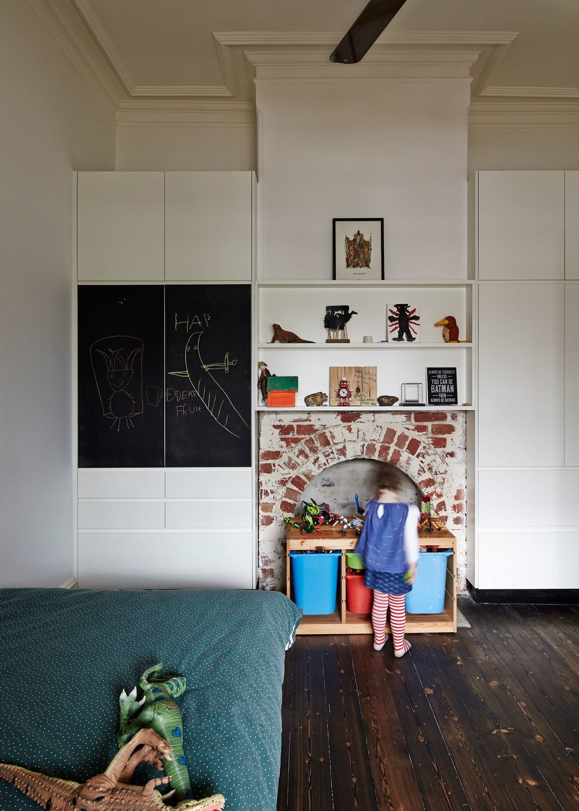 """The house's unique Victorian-era fireplaces had been obscured over the years with mock surrounds. The architects stripped them bare to """"reveal their materiality,"""" as Bright explains."""