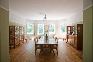 Hendy van de Velde's house, Hohe Papplin Haus in Weimar. Note the bowed out large windows, very Art Nouveau in design, that let in an abundance of natural light. Van de Velde designed the furnishings to match the shape of the room.