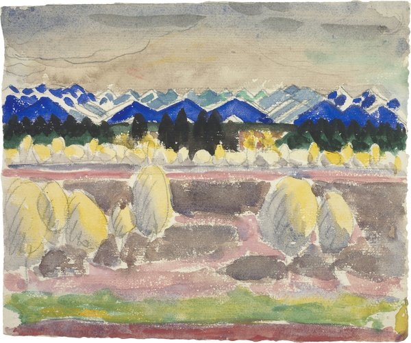 "An early work on paper by Le Corbusier shows his fascination with landscapes. (Charles-Edouard Jeanneret). (French, born Switzerland. 1887-1965). Blue mountains. 1910. Pencil, watercolor, black ink on paper. 6 3/8 x 7 11/16"" (16.2 x 19.5 cm) Foundation Le Corbusier, Paris. © 2013 Artists Rights Society (ARS), New York / ADAGP, Paris / FLC"