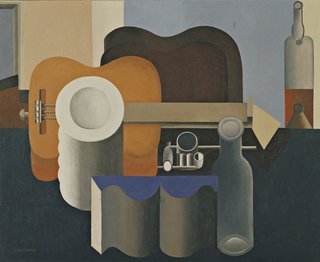 "Le Corbusier (Charles-Edouard Jeanneret) was a leader in Purism, a movement toward clear forms indicative of the modern age. (French, born Switzerland. 1887-1965). Nature morte (Still life). 1920. Oil on canvas. 31 7/8 x 39 1/4"" (80.9 x 99.7 cm). The Museum of Modern Art, New York. Van Gogh Purchase Fund, 1937. © 2013 Artists Rights Society (ARS), New York / ADAGP, Paris / FLC"