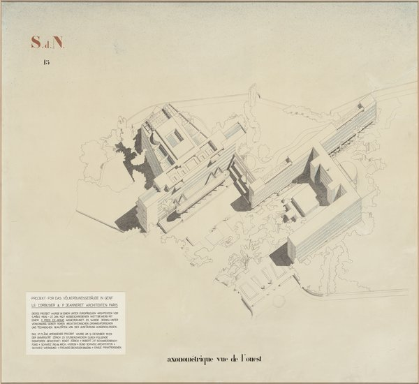"Le Corbusier (Charles-Edouard Jeanneret) (French, born Switzerland. 1887-1965). Palace of the League of Nations, Geneva. 1927. Axonometric view from the west. Gelatin print on paper with ink, airbrush and collage additions. 53 3/8"" x 57 7/8"" (135.5 x 147 cm). Institut fur Geschichte und Theorie der Architektur, ETH Zurich"