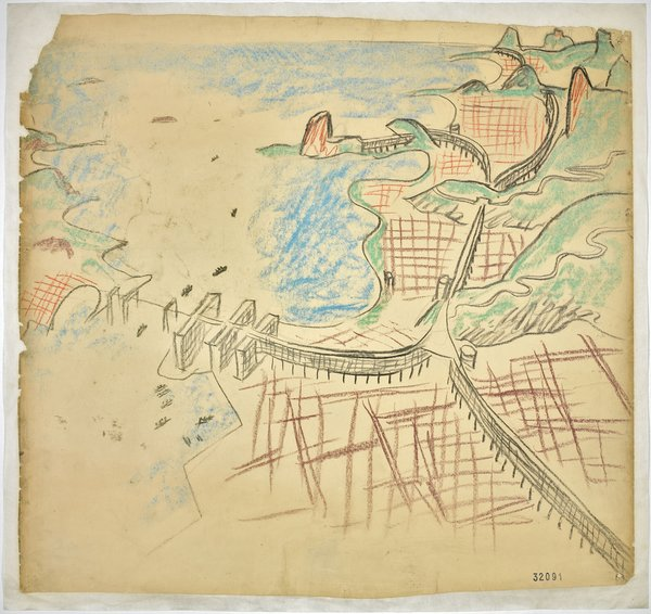 "Le Corbusier conceived his urban plan for Rio de Janiero while viewing the city during a plane ride. 1929. Aerial perspective with Guanabara Bay, the center and the beaches. (Charles-Édouard Jeanneret) (French, born Switzerland. 1887-1965). Charcoal and pastel on paper. 29 15/16 x 31 11/16"" (76 x 80.5 cm). Foundation Le Corbusier, Paris. © 2013 Artists Rights Society (ARS), New York/ADAGP, Paris/FLC"