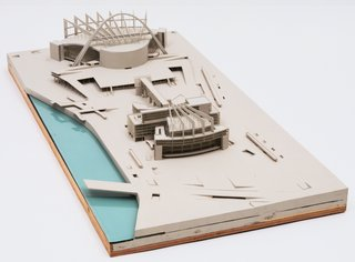 "Le Corbusier (Charles-Edouard Jeanneret) (French, born Switzerland. 1887-1965). Palace of the Soviets, Moscow. 1931-32. Model, 1932. Wood, paint, metal, plastic, and glass. 14 x 33 1/2 x 67"" (35.6 x 85.1 x 170.2 cm). The Museum of Modern Art, New York. Special Purchase Fund, 1941. © 2013 Artists Rights Society (ARS), New York / ADAGP, Paris / FLC"