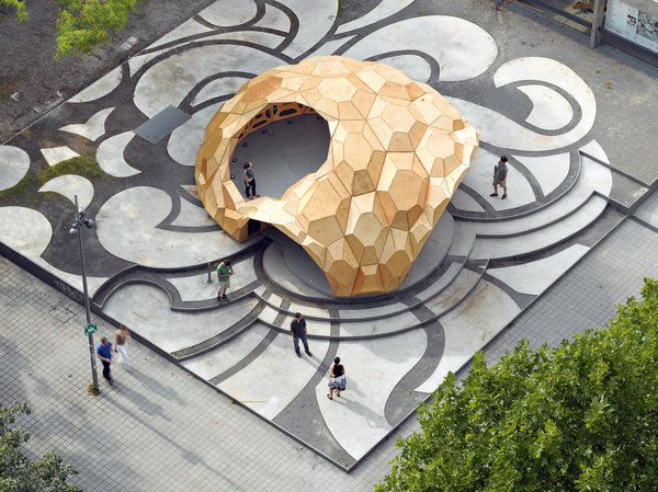 Comprised of plywood plates, the ICD/ITKE Research Pavilion in Stuttgart, Germany, is a study in the implementation of biological principles in architecture (hence the dome's resemblance to a sea urchin). Institute for Computational Design (ICD) / Institute of Building Structures and Structural Design (ITKE). Photo by Roland Halbe.