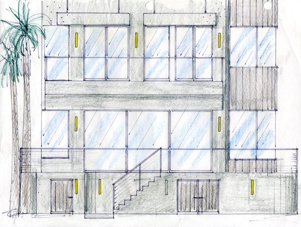 An original sketch of the couple's residence by project designer John A. Turturro of Turturro Design Studios and architect of record Larry Graves of Alliance Design Group.<br><br>To learn more about the Cranston Residence project and its players, please visit www.3palmsproject.com