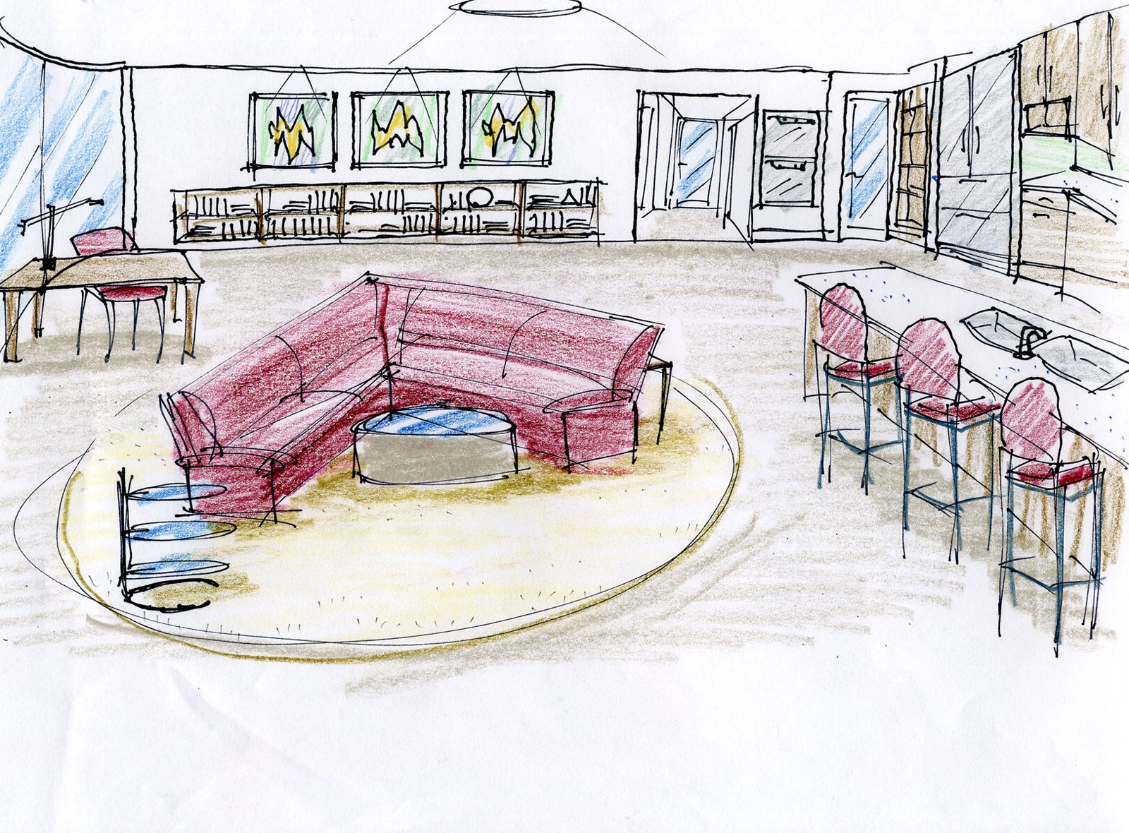 """An early sketch for the centrally located living room. Project designer John A. Turturro worked closely with Bryan Cranston and Robin Dearden to select all the furnishings and interior materials. """"John really knows his stuff,"""" says Dearden."""