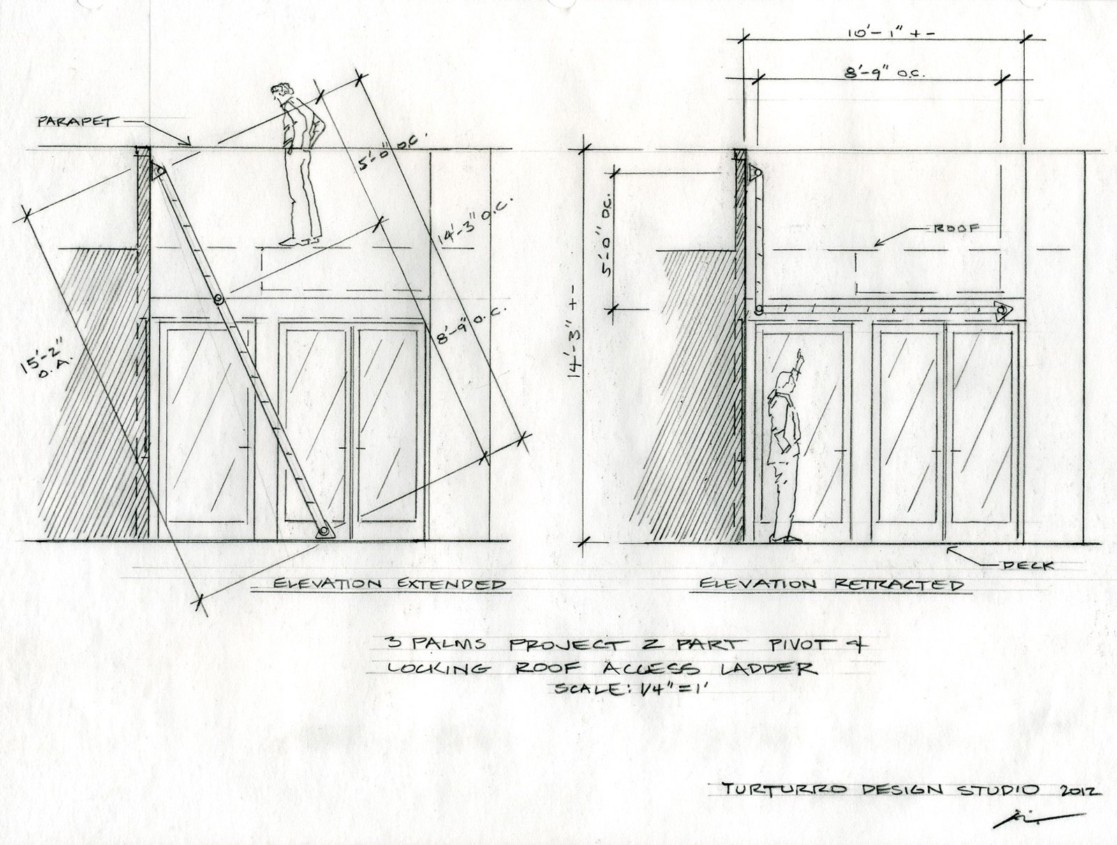 A drawing illustrates the two-part pivot and locking roof access ladder.