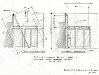 A drawing illustrates the two-part pivot and locking roof access ladder.<br><br>To learn more about the Cranston Residence project and its players, please visit www.3palmsproject.com
