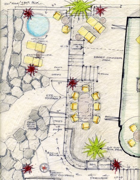 A drawing of the outdoor site plan includes a raised concrete deck, firepit, cut-outs, built-in furniture, and a lower patio.<br><br>To learn more about the Cranston Residence project and its players, please visit www.3palmsproject.com