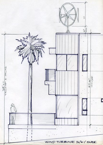 An early study of a wind turbine for the roof, an idea that was eventually scrapped by the team due to permit and acoustics issues, as well as concern for native wildlife.<br><br>To learn more about the Cranston Residence project and its players, please visit www.3palmsproject.com