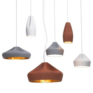Pleat Box pendant lights were made by Hande Akçaylı and Murat Koçyiğit of Mashallah Design to suggest the pliability of a textile. The two designers were both trained in Germany and established the studio in 2008.