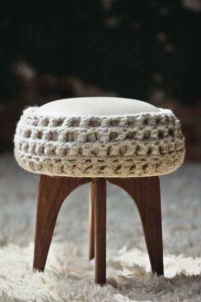 Jerri Hobdy's AMPY stool explores crochet as an experimental fabrication technique. It took Hobdy a week to construct the stool's crochet topper from a two-mile-long piece of yarn.