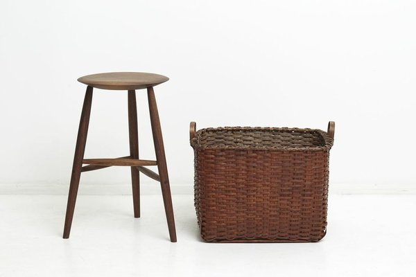 Sawkille Black Walnut Stool and Black Ash Basket, made from black ash and cassein paint, $800 and $1,580, respectively.